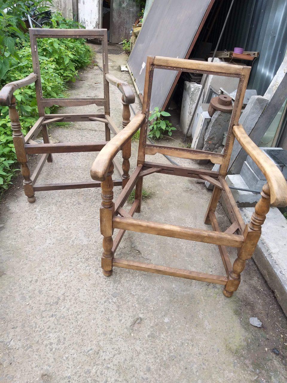 Zandstralen stoelen voor en na