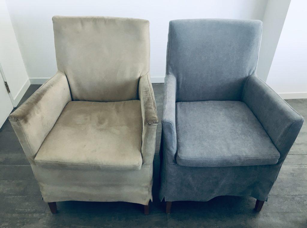 foto voor en na herbekleede stoel
